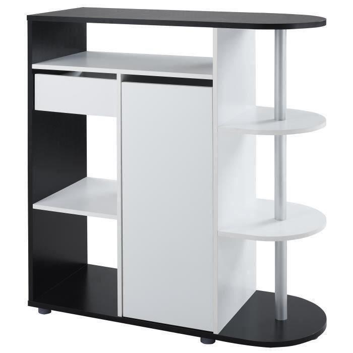 DAMIA Table bar style contemporain noir et blanc mat - L 100 x l 40 cm - Achat / Vente mange ...