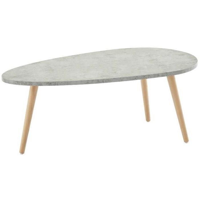STONE Table Basse Ovale Scandinave Effet Béton Clair   L 88 X L 48 Cm
