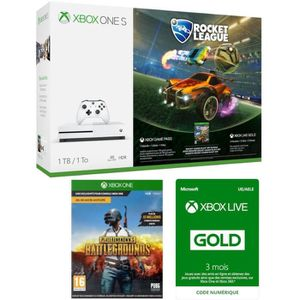 CONSOLE XBOX ONE Xbox One S 1 To Rocket League + PUBG + 3 mois d'ab