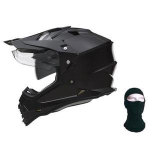 CASQUE MOTO SCOOTER NOX Casque Cross N312 + cagoule - Noir mat