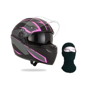 CASQUE MOTO SCOOTER STORMER Casque Intégral Pusher Xenon Rose + Cagoul