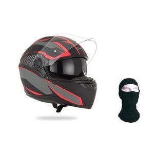 CASQUE MOTO SCOOTER STORMER Casque Intégral Pusher Xenon Rouge + Cagou