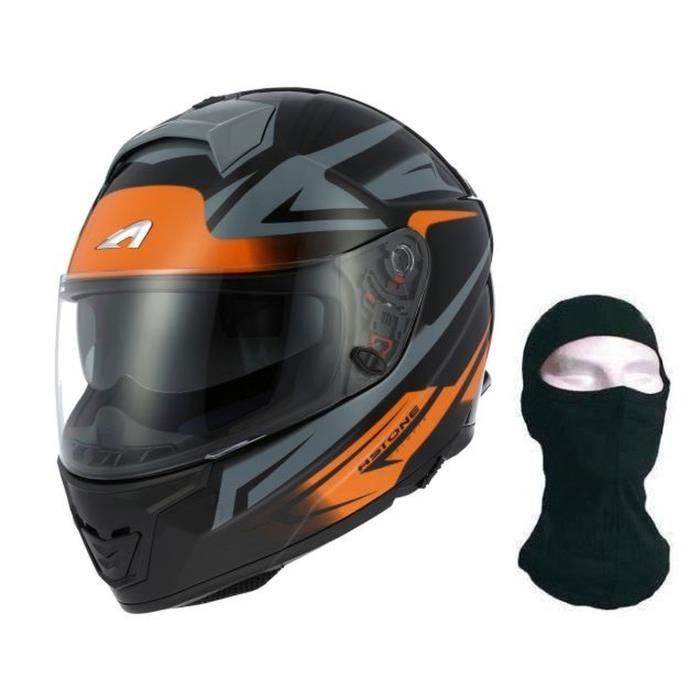 Casque Moto Orange Et Noir Scooter Achat Vente Pas Cher
