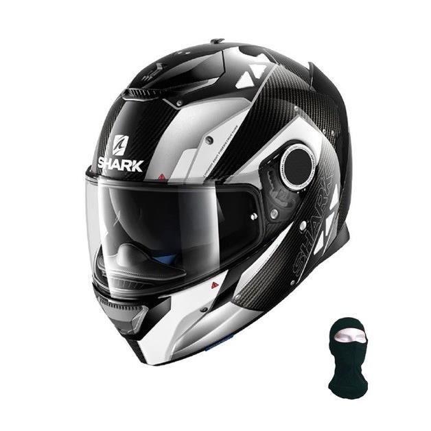 Shark Casque Moto Spartan Carbon Bionic Noir Blanc Cagoule Achat