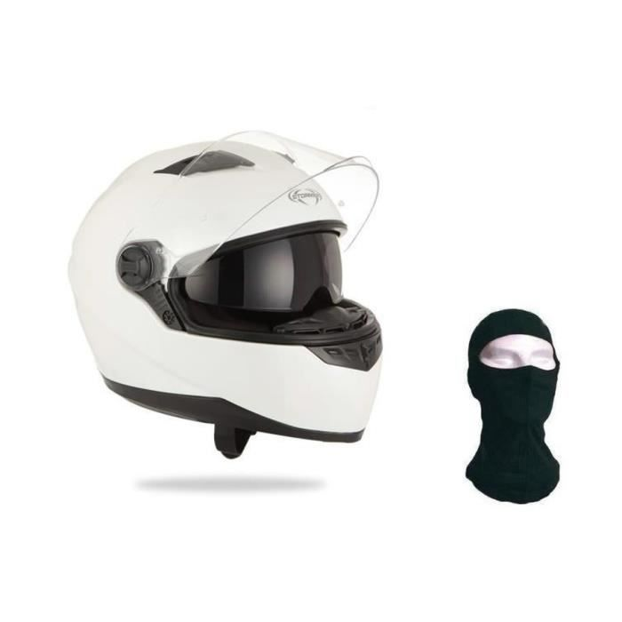 CASQUE MOTO SCOOTER STORMER Casque Intégral Pusher Blanc + Cagoule