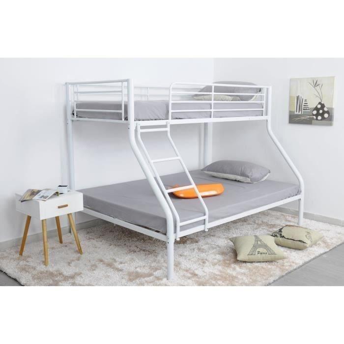 finlandek lit superpos enfant leijona contemporain en m tal blanc l 90 x l 190 cm et l 140 x. Black Bedroom Furniture Sets. Home Design Ideas