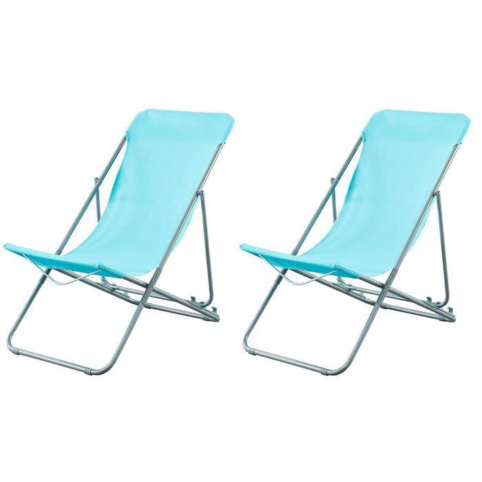 beau rivage set de 2 chaises relax de jardin ibiscus en acier bleu - Relax De Jardin