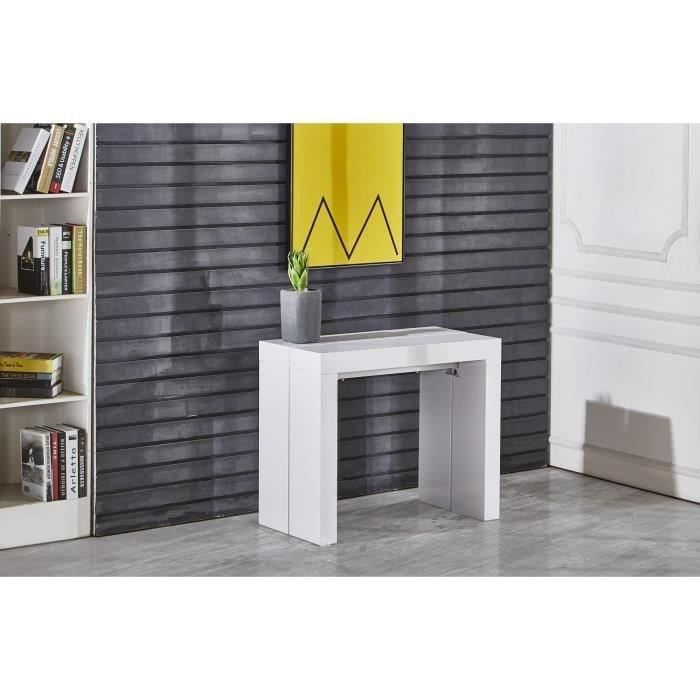 console extensible zack table console extensible 45 300x90cm blanc la - Table Console Extensible Blanc Laque