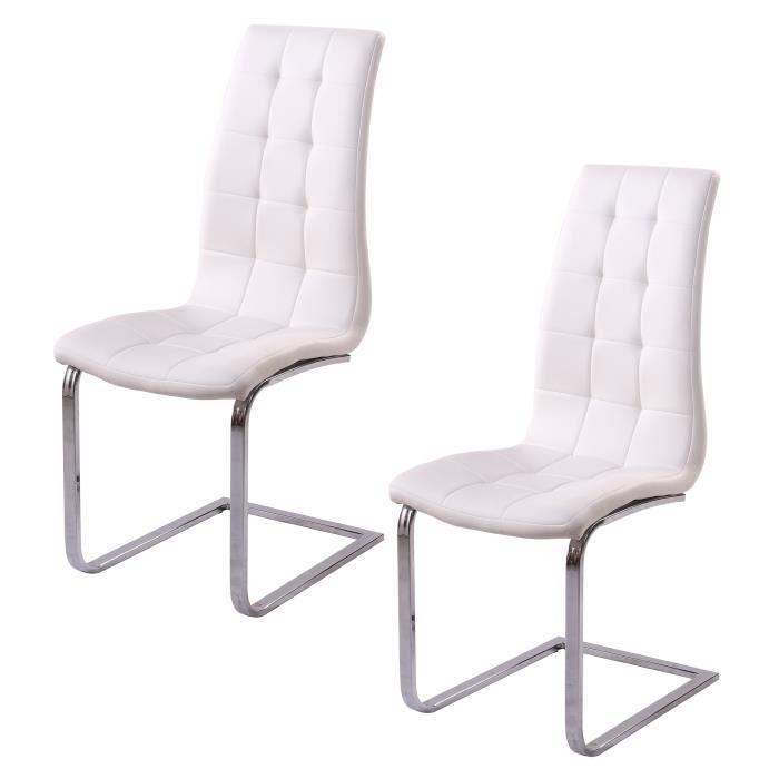 LUGANO Lot de 2 chaises de salle à manger - Simili blanc - Contemporain - L  48 x P 45 cm f6bcd024e33c