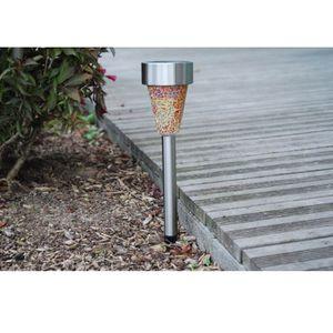 LAMPION Lanterne solaire en inox effet mosaïque 1 LED