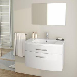 1b706cbb93 PACOME Ensemble meubles de salle de bain simple vasque + miroir L 80 cm -  Blanc
