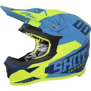 CASQUE MOTO SCOOTER SHOT Casque Cross Furious Spectre Bleu Néon Jaune