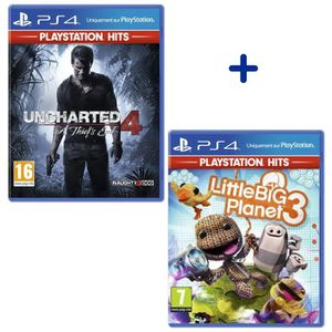 CONSOLE PS4 Pack 2 Jeux PS4 PlayStation Hits : Uncharted 4 A T