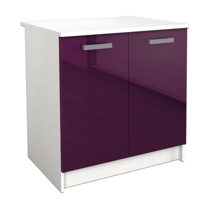 start meuble bas de cuisine l 80 cm aubergine brilant. Black Bedroom Furniture Sets. Home Design Ideas