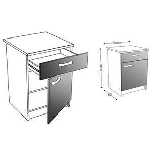 meuble bas de cuisine 60 x 60 avec 1 tiroir 1 porte achat vente meuble bas de cuisine 60 x. Black Bedroom Furniture Sets. Home Design Ideas