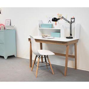 bureau oslo bureau contemporain laqu blanc et bois pin - Bureau Blanc Et Bois