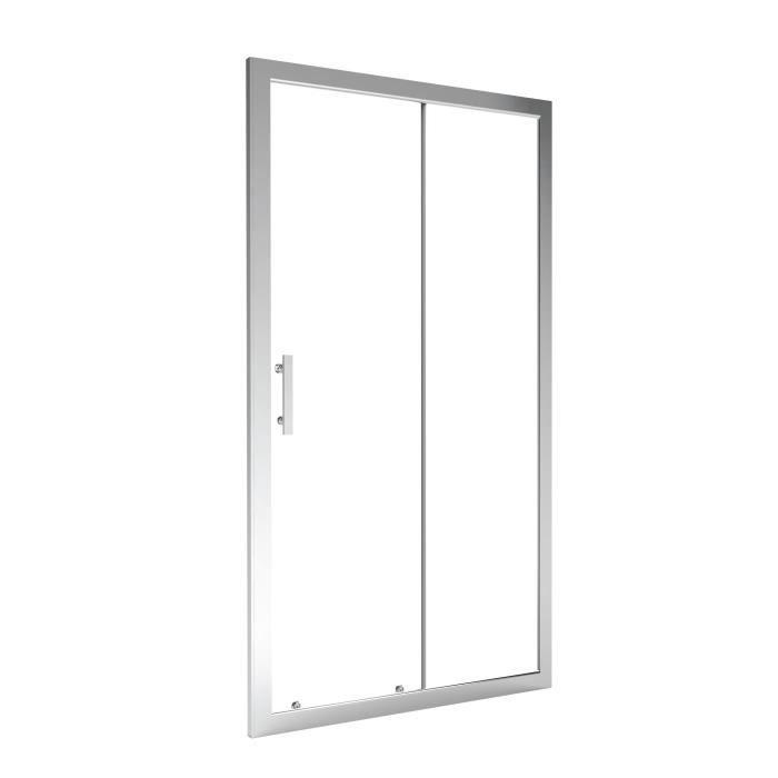 AQUA+ Porte de douche coulissante Ekla - 100 cm - Verre trempé 6 mm ...