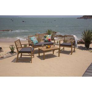 Salon de jardin 4 places en acacia - Achat / Vente pas cher -