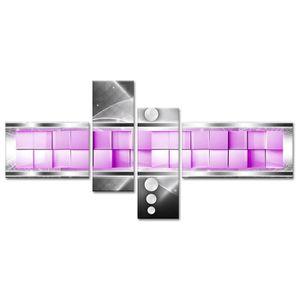 TABLEAU - TOILE CUBO Tableau multi panneaux 130x65 cm violet abstr