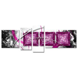 TABLEAU - TOILE WAX Tableau multi panneaux 160x60 cm violet abstra