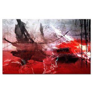 TABLEAU - TOILE ESTAMPE Tableau déco 80x50 cm rouge abstrait