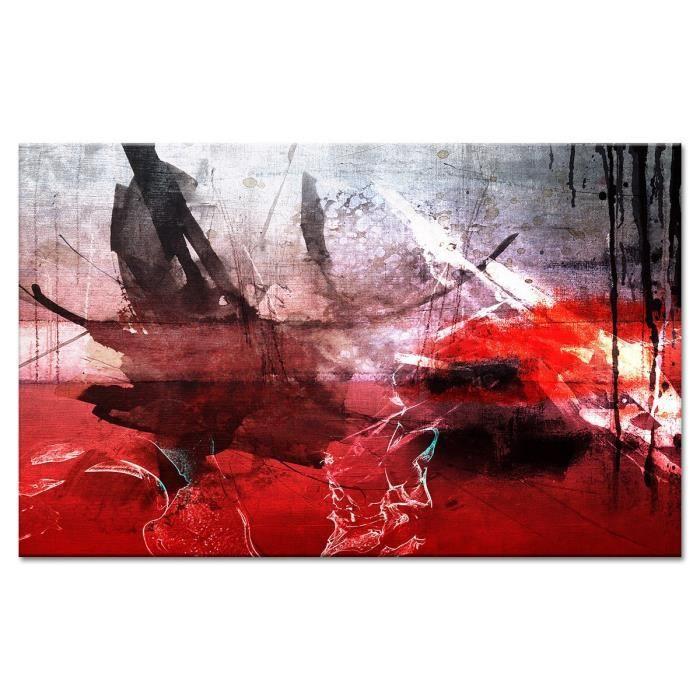 ESTAMPE Tableau déco 80x50 cm rouge abstrait - Achat / Vente tableau ...
