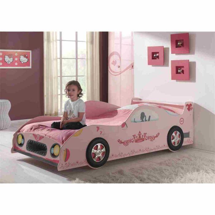 lizzy lit voiture enfant 90x200 cm laqu rose - Lit Voiture Enfant