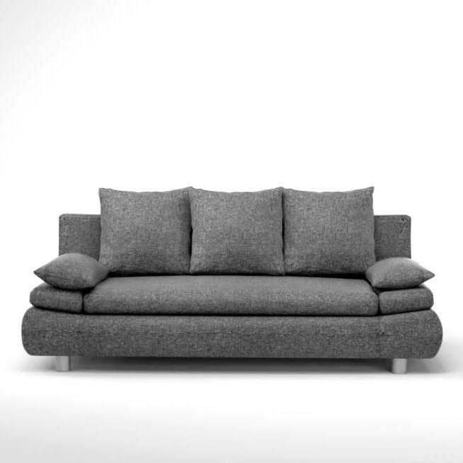 naho canap droit convertible 3 places tissu gris contemporain l 205 x p 97 cm achat. Black Bedroom Furniture Sets. Home Design Ideas