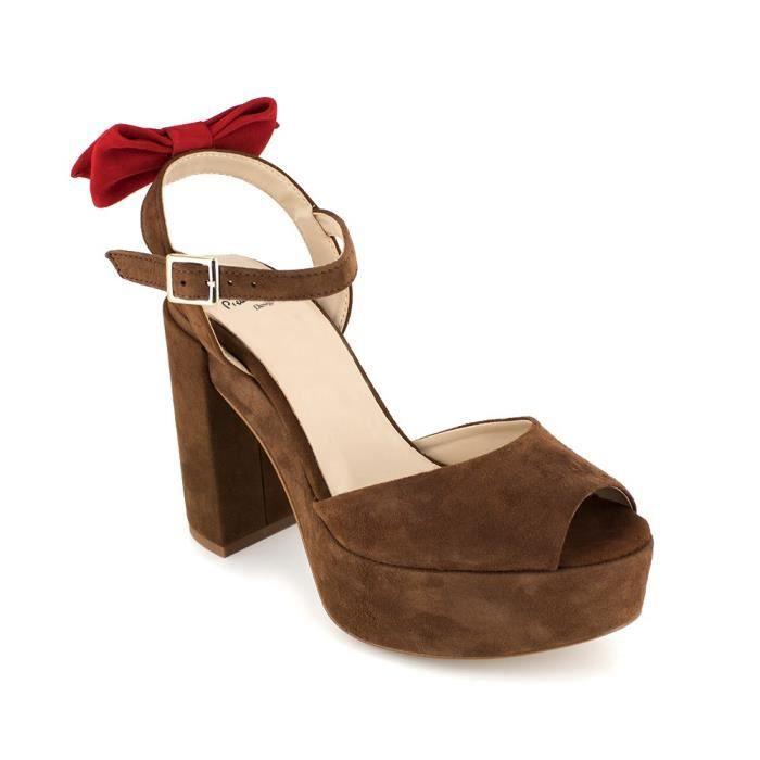 48fe54e49849c PIERRE CARDIN Sandales en cuir talons compensés - Femme - Cognac ...