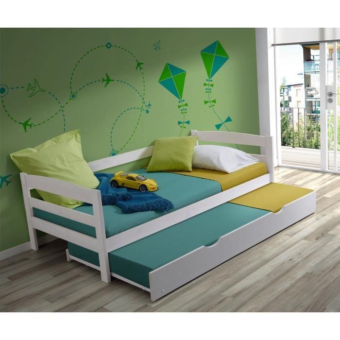 james lit gigogne enfant contemporain en bois massif laqu blanc l 90 x l 190 cm achat. Black Bedroom Furniture Sets. Home Design Ideas