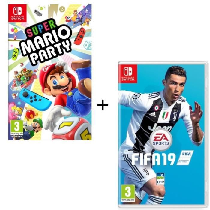 JEU NINTENDO SWITCH Pack  2 jeux Switch : Super Mario Party + FIFA 19