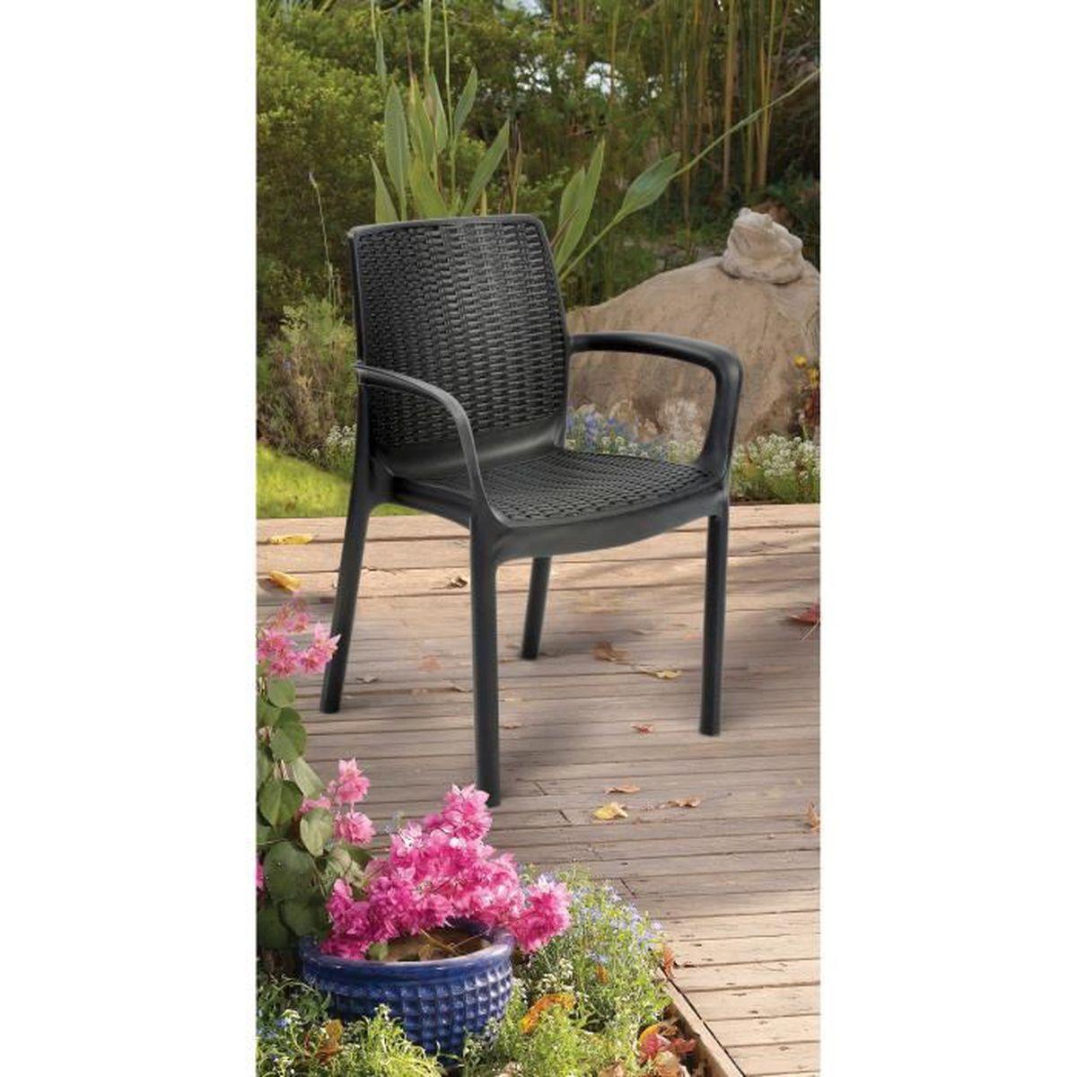 KETER 6 fauteuils empilables Bali imitation résine tressée ...