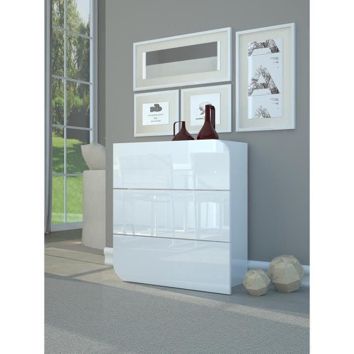 GOCCIA Commode chambre adulte style contemporain - Laqué blanc ...