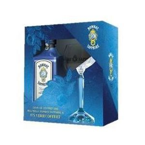 GIN Bombay Sapphire Dry Gin 70 cl - 40° Coffret + Verr