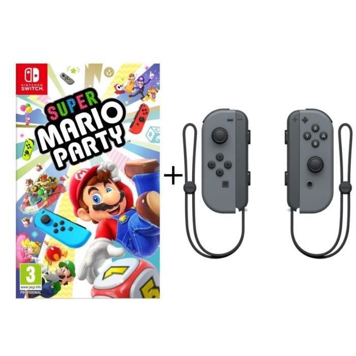 JEU NINTENDO SWITCH Super Mario Party + Paire de Joy-Cons Gris