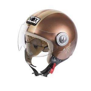 CASQUE MOTO SCOOTER NOX N210 Casque Jet Chocolat Or