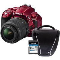 Pack Débutant : Reflex NIKON D5300 + AF-P 18-55VR - Rouge - 24,2 mégapixels - Wi-Fi et GPS intégrés + Carte mémoire + Sacoche