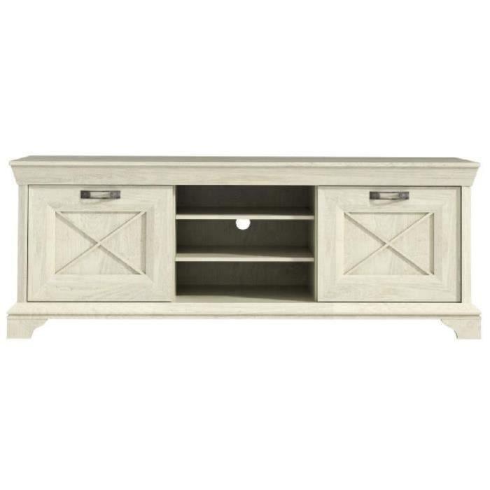 meuble tv kashmir meuble tv romantique dcor pin blanc mat - Meuble Tv Blanc Patine