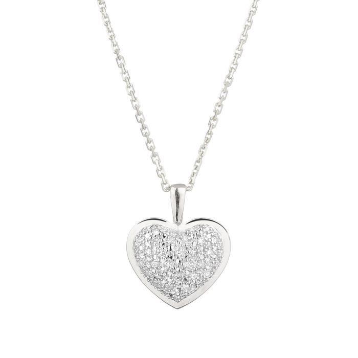 SAUTOIR ET COLLIER LE DIAMANTAIRE Pendentif Coeur Or Blanc et Diamant