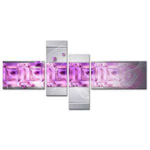 TABLEAU - TOILE LABYRINTHE Tableau multi panneaux 130x65 cm violet