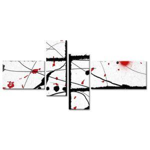 TABLEAU - TOILE ABSTRAKT Tableau multi panneaux 130x65 cm blanc ab