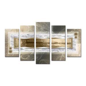 TABLEAU - TOILE WOOD Tableau multi panneaux 150x80 cm beige abstra