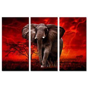 TABLEAU - TOILE ELEPHANT Tableau multi panneaux 120x80 cm rouge an