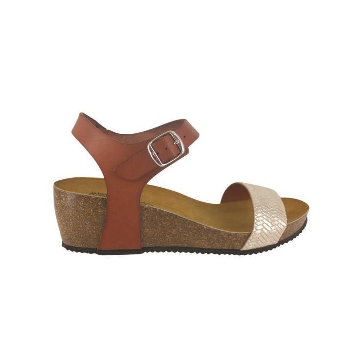 grandes marques célèbre marque de designer vente limitée LE TEMPS DES CERISES Sandales en Cuir Marron Cognac Femme