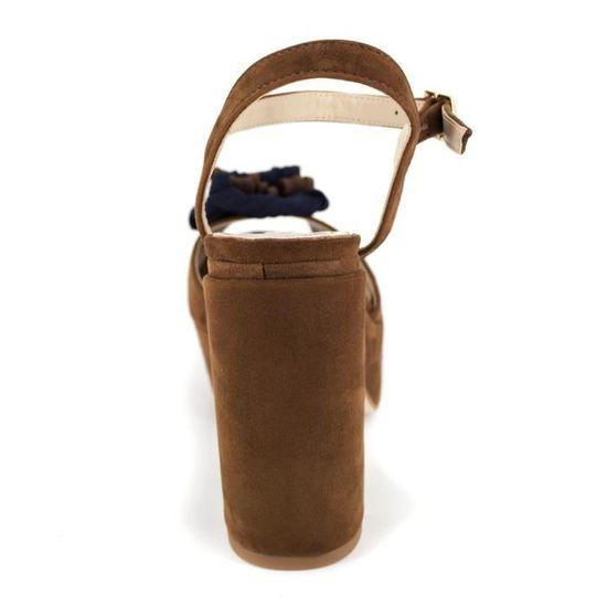 60e7d1a2f87750 PIERRE CARDIN Sandales en cuir talons compensés - Femme - Cognac - Achat /  Vente PIERRE CARDIN San PC1704TDCO pas cher - Soldes d'été dès le 26 juin  ...