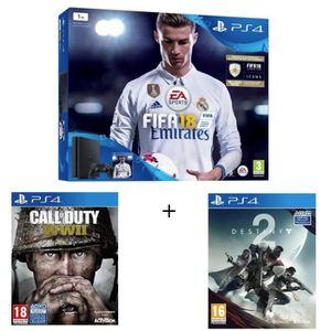 CONSOLE PS4 NOUVEAUTÉ Nouvelle PS4 Slim 1 To Noire + 3 Jeux : Call of Du
