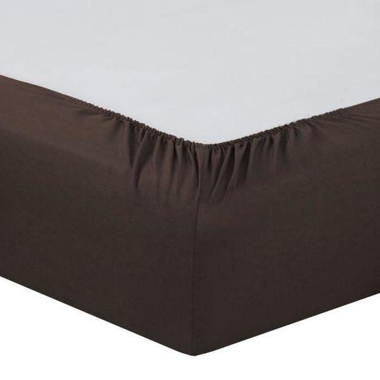 VISION Drap housse 160x200 + 25 cm chocolat   Achat / Vente drap
