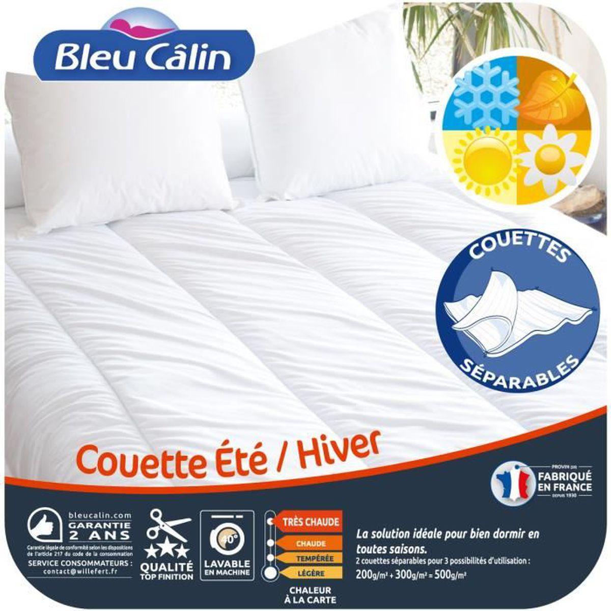BLEU CALIN Couette Été Hiver 200x200 cm blanc   Achat / Vente