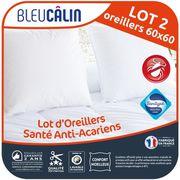 OREILLER BLEU CALIN Lot de 2 oreillers Santé Anti-acariens