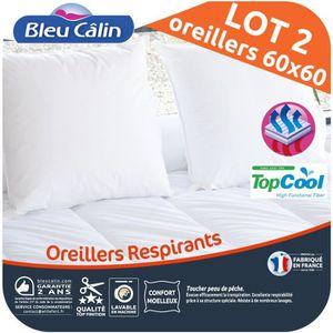 OREILLER BLEU CALIN Lot de 2 oreillers RespirantS TOPCOOL 6